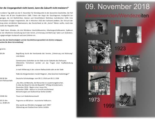 Zeitwenden / Wendezeiten – Einladung zum 09.11.2018
